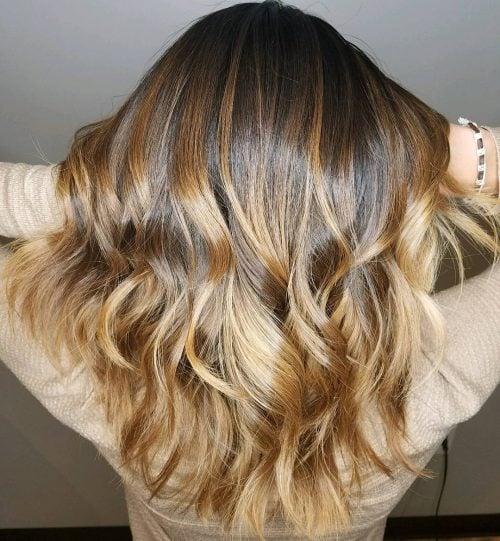 Wavy honey ash blonde hair