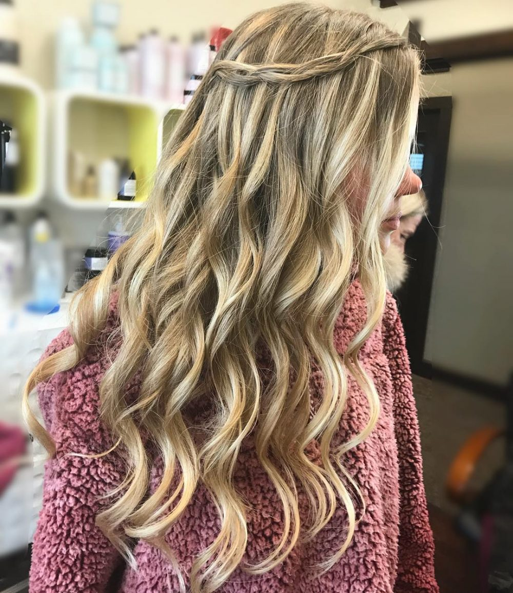 Wavy Waterfall Braid Hairstyle