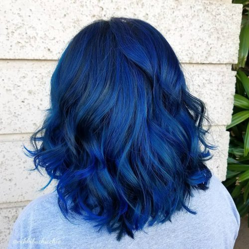 Picture of a wearable shoulder length blue black hair