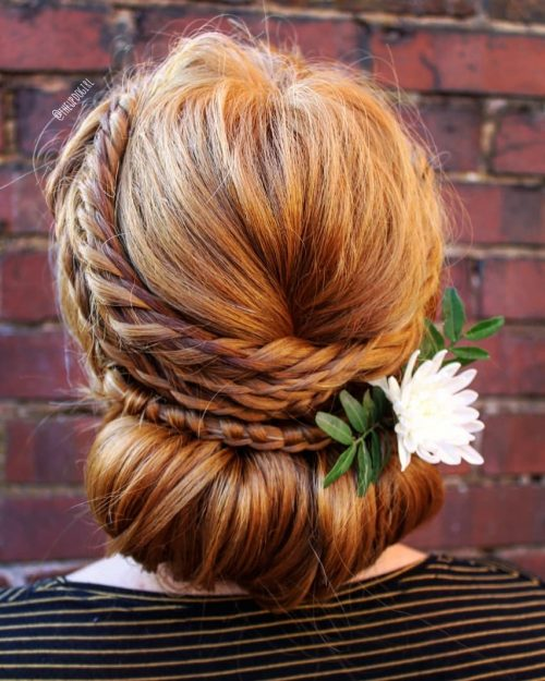 Picture of a wedding perfect maypole braided hair