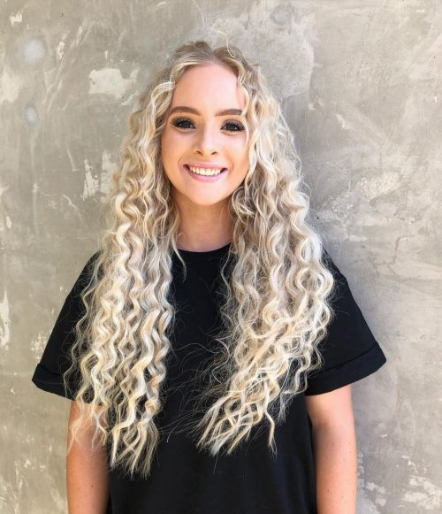 white blonde curly hair