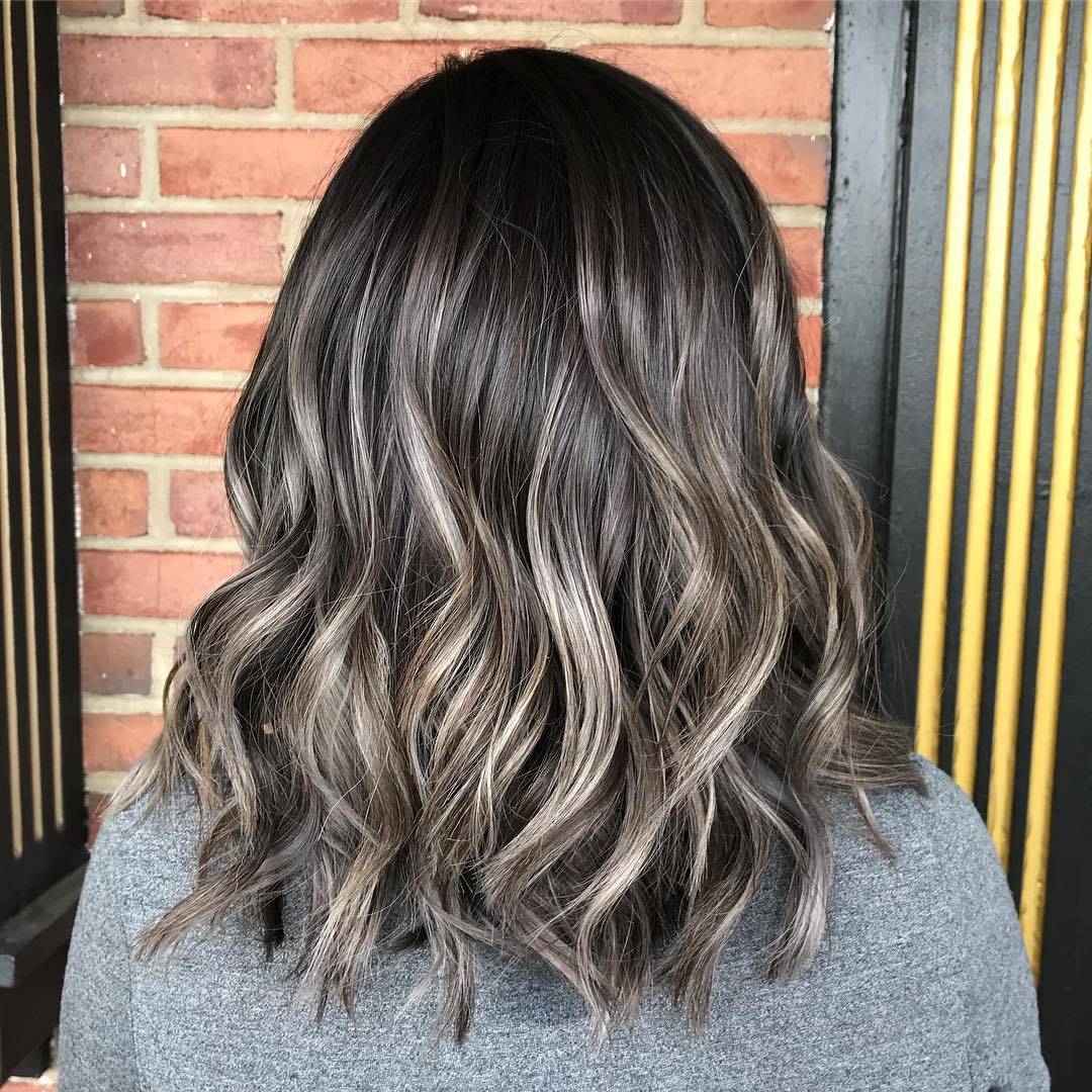 Hair go what black highlights with Brownish Grey