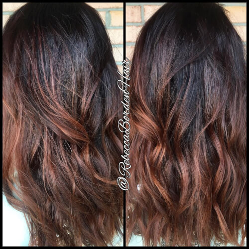 Winter auburn color melt hair color