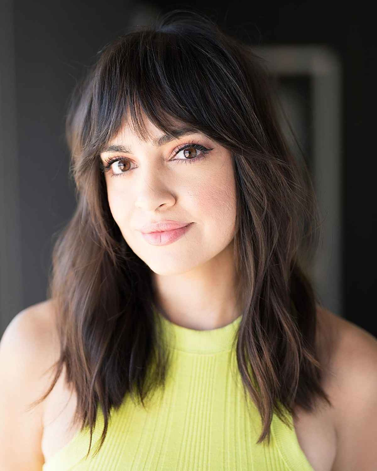 wispy bangs with natural texture