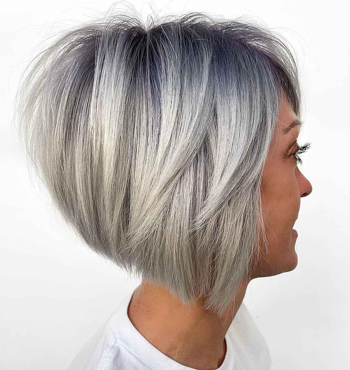 wonderfully stacked a-line bob haircut
