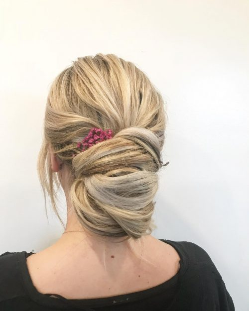 Picture of a wrapped easy shoulder length updo