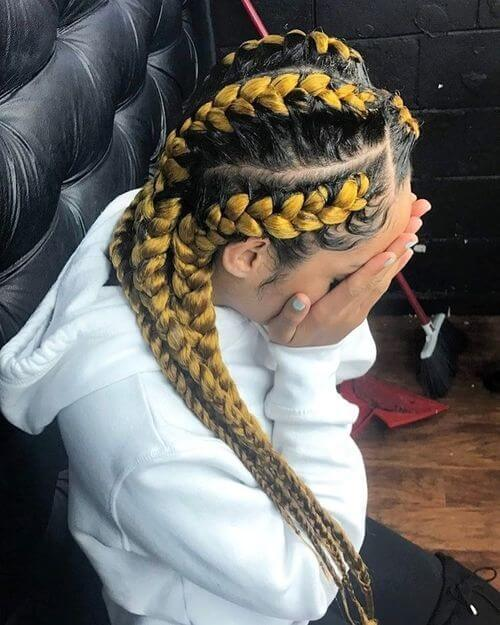 yellow and black colored box braids
