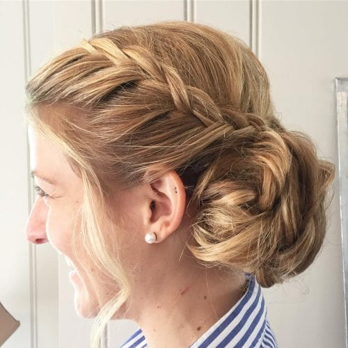 Youthful Braided Updo Hairstyle